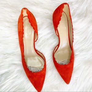 J Crew | Dulci scalloped suede kitten heels
